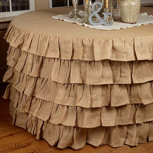 Round Burlap Ruffle Tablecloth (5u0027)